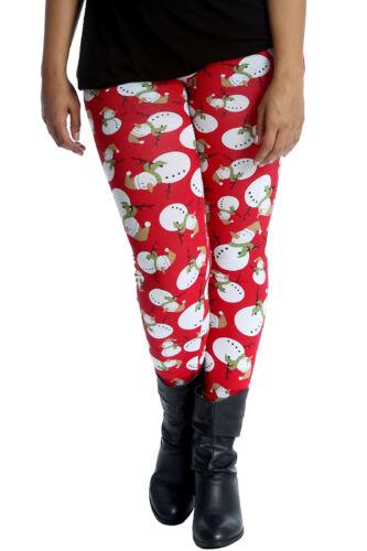 NUOVA linea donna Leggings Taglie Forti Donna Stampa Pupazzo di Neve Natale Xmas Party NOUVELLE