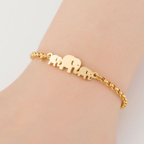 Stainless Steel Elephant Chain Bracelets Women Charm Cuff Bangle Gifts JewelryZH