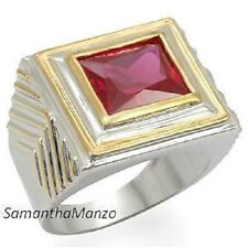 Mens 10ct Bezel Set Ruby CZ Ring 2-Tone Gold Silver Finish Jewelry New Size 8