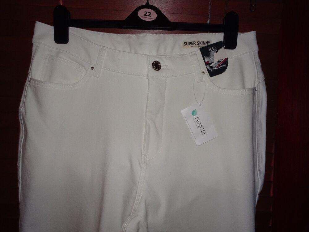 Agressif M&s Soft Blanc Super Skinny Curve Jeans * Taille 20 Petite * Bnwt Rrp £ 29.50 Nous Prenons Les Clients Comme Nos Dieux