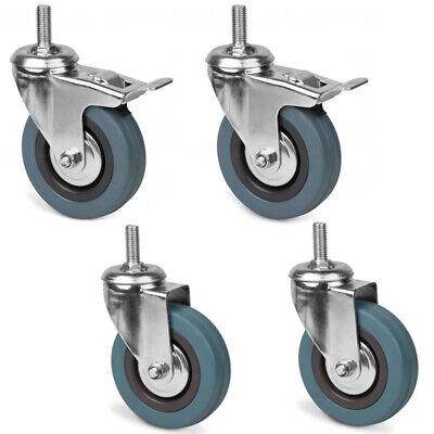 360/° drehbar Vollgummi Lenkrollen mit 2 x Bremse Blau 100 mm M/öbelrollen Schwerlastrollen Laufrollen 4 St/ück Transportrollen bis 160 KG pro Rolle