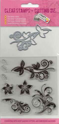 029 ClearStamp Silikonstempel /& Schneideschablone im Set Blumenornamente