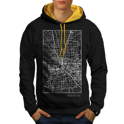 Houston Black Hoodie Hood Contrast Fashion City New gold Map Men gTrPpgq