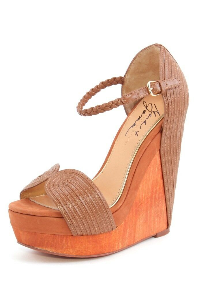 forniamo il meglio Mark & James Badgley Mischka Roana Tan Marrone Marrone Marrone Wooden Wedge Platform Sandal NEW  negozio outlet