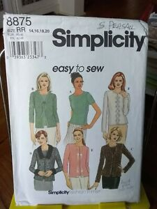 Oop-Simplicity-Easy-8875-misses-knit-top-cardigan-scalloped-sz-14-20-NEW