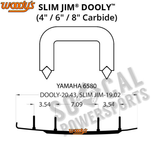 "2007 Woody/'s Slim Jim Dooly 4.0/"" Carbide Runner Yamaha Phazer FX"