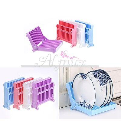 Kitchen Plastic Foldable Dish Plate Drying Rack Organizer Drainer Storage Holder