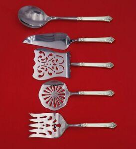 Damask-Rose-by-Oneida-Sterling-Silver-Brunch-Serving-Set-5-Piece-Custom-Made