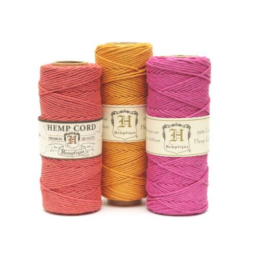 Hemptique Hemp Cord Eco Friendly Twine 62.5m Spool Bright Pink
