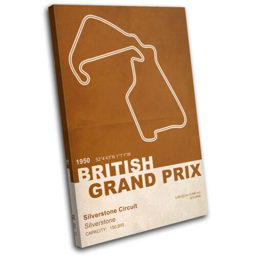 Silverstone British UK Grand Prix Formula 1 F1 Race Track Canvas Artwork Print