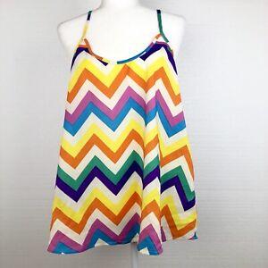 UMGEE-USA-Boutique-Women-039-s-Large-Boho-Sleeveless-Rainbow-Stripe-Tunic-Top-Shirt