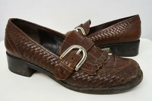Brighton-woven-brown-leather-loafers-shoes-sz-6-5-M-womens-242
