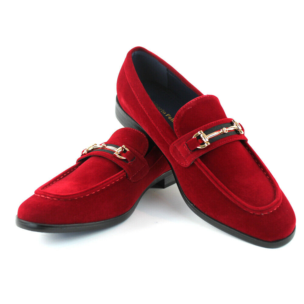 RED Velvet Buckle Slip On Moccasins Men's Dress Fashion Shoes Casual PUCCI 01
