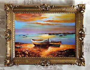 Arranque-BOTE-DE-REMOS-Barcos-PLAYA-MAR-Imagenes-Reproduccion-von-A-GOTTI-90x70