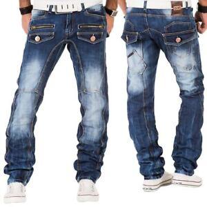 KOSMO-Lupo-Uomo-Jeans-Pantaloni-Denim-Japan-Style-Vintage-Clubwear-Chino-Used-Blu