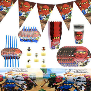 Ninjago Children Birthday Party Tableware Decor Plate Flag Tablecloth Balloon