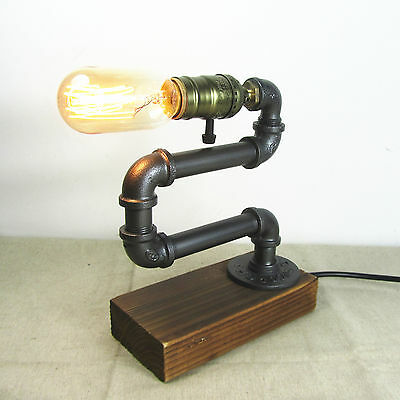 Adjustable Iron Pipe Bedside Table Desk Lamp Light Retro Industrial Urban Style