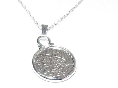 Floral Pendant 1931 Lucky Sixpence 89th Birthday Plus a Sterling Silver 18in Chain