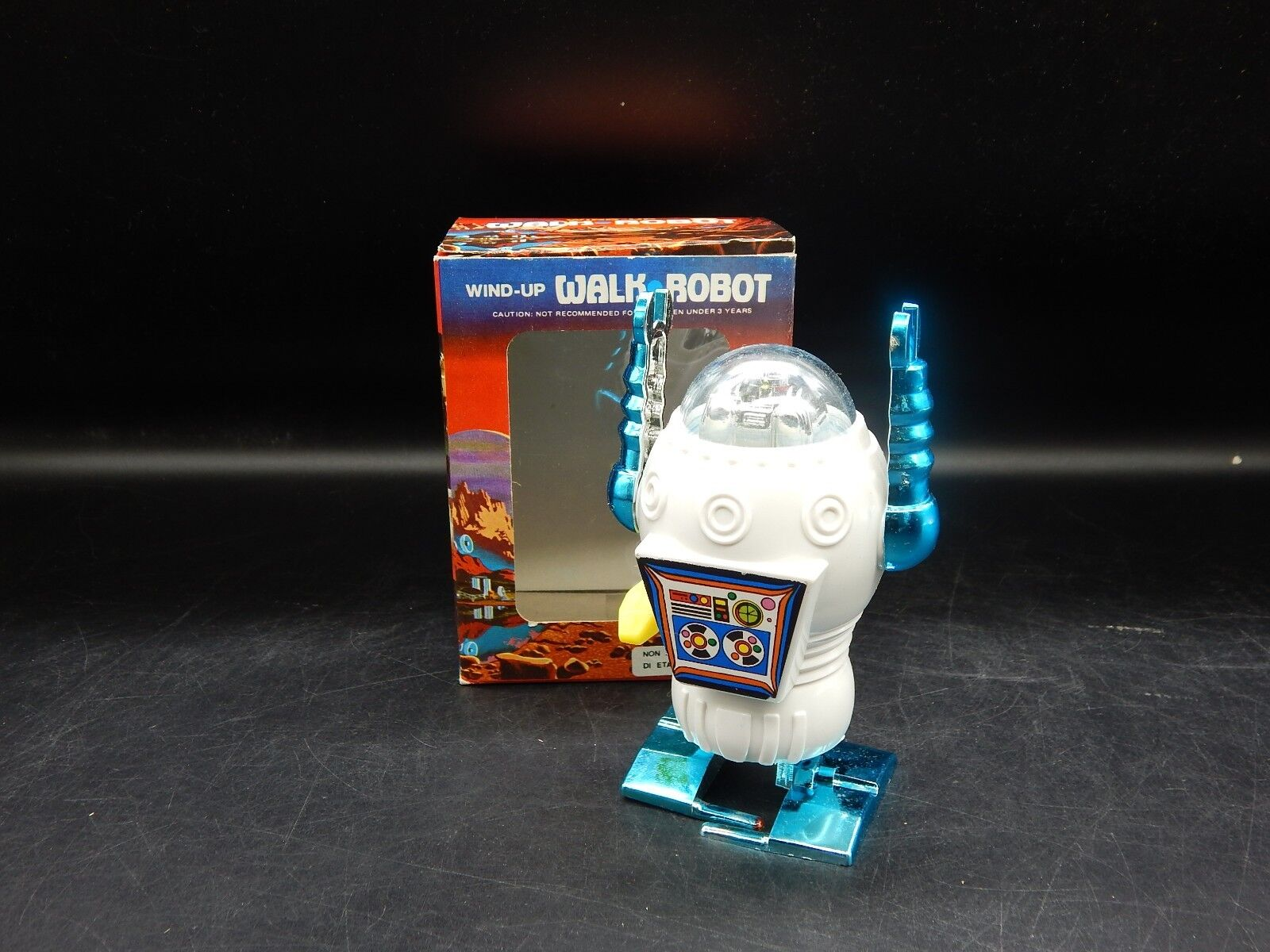 Original vintage windup WALK ROBOT giocattolo cifra MIB plastic windup original scatola