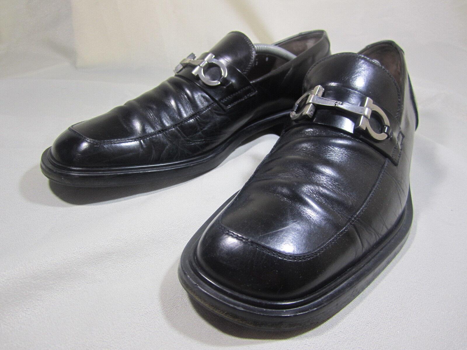 SALVATORE FERRAGAMO STUDIO Gun Métal Embout en Cuir Noir Chaussures Mocassins Taille 8D