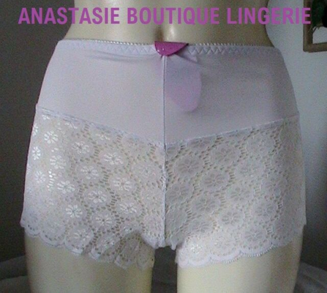LINGERIE SEXY SHORTY FEMME GRANDES TAILLES DENTELLE EXTENSIBLE PERLEE BLANC 50