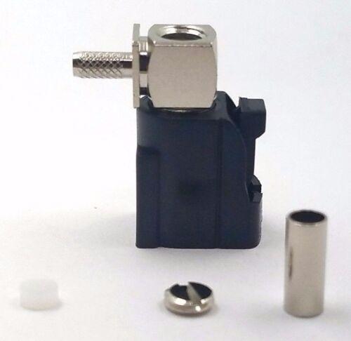 10pcs Auto Fakra Right Angle Jack Crimp for RG174 Code: A (Black)
