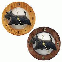 Scottish Terrier Wood Clock Wall Plaque Black