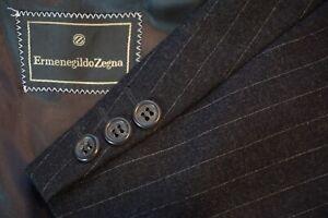 Ermenegildo-Zegna-Charcoal-Gray-Pinstriped-Flannel-Wool-2-Pc-Suit-Sz-44R