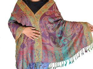 018ba797cf Image is loading Multicolor-Paisley-Kashmir-Wool-Shawl-Fashion-Scarf-Cozy-
