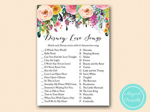 image is loading 10 x printed disney love songs match game