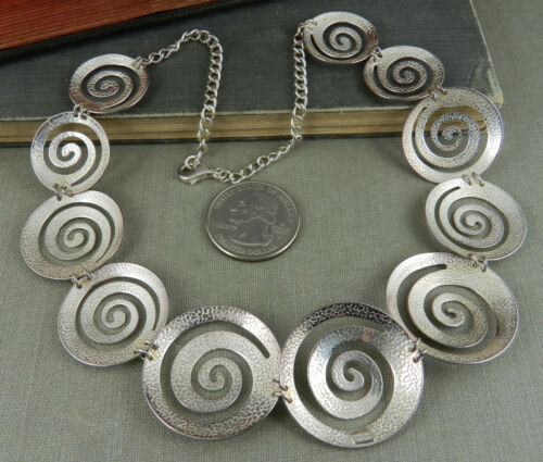 ILLUSTRATEUR SIGNé C ^ une Thaïlande 925 Sterling Silver Swirl Disque Collier//Boucles d/'oreilles