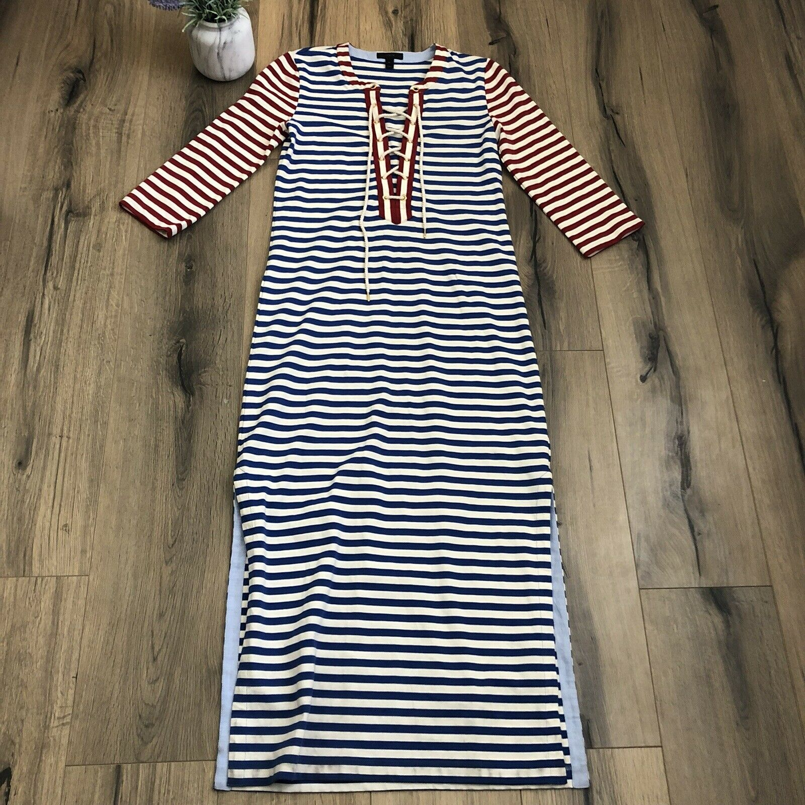 cb8646d5433b8c J Crew damen XS Dress Striped Lace Up Nautical Stretch Maxi 3 4 Sleeves  Cotton