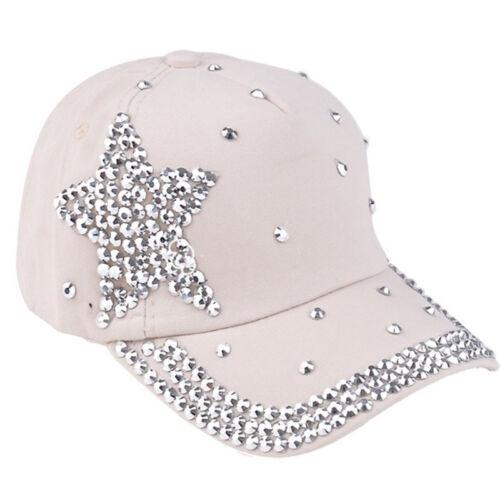 Fashion Kids Baseball Cap Rhinestone Star Shaped Boy Girls Snapback Hat Hot Pink