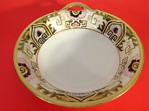 """NIPPON BOWL HAND PAINTED HEAVY GOLD DESIGNS & TRIM  FLORAL 8"""" HANDLED ANTIQUE"""