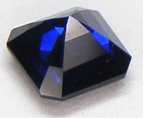 Excelente Corte Asscher 5x5 mm laboratorio De Zafiro Azul Profundo corindón