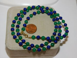 Emerald-Green-amp-Cobalt-Blue-Glass-bead-14k-GF-28-034-Strand-Necklace-11f-46