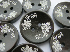 """6 Dark Brown Buttons White Flowers 20mm (3/4"""") Wood Sewing Focal Buttons Craft"""