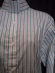 English SHOW Hunt Shirt green blue stripe ladies sz 12/34 VAN TEAL NEW horse