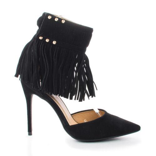 Mandi04 Pointy Toe Velcro Studded Ankle Fringe Cuff Stiletto Heels