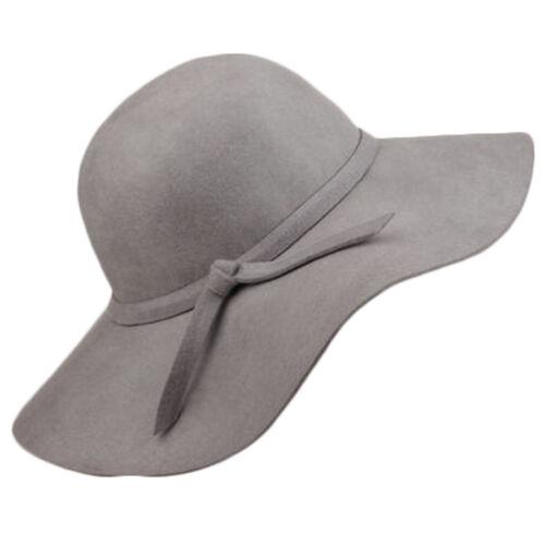 Damen Vintage Breite Krempe Filzhut Hochzeit Schlapper Kappen Warm Mütze Hüte GS