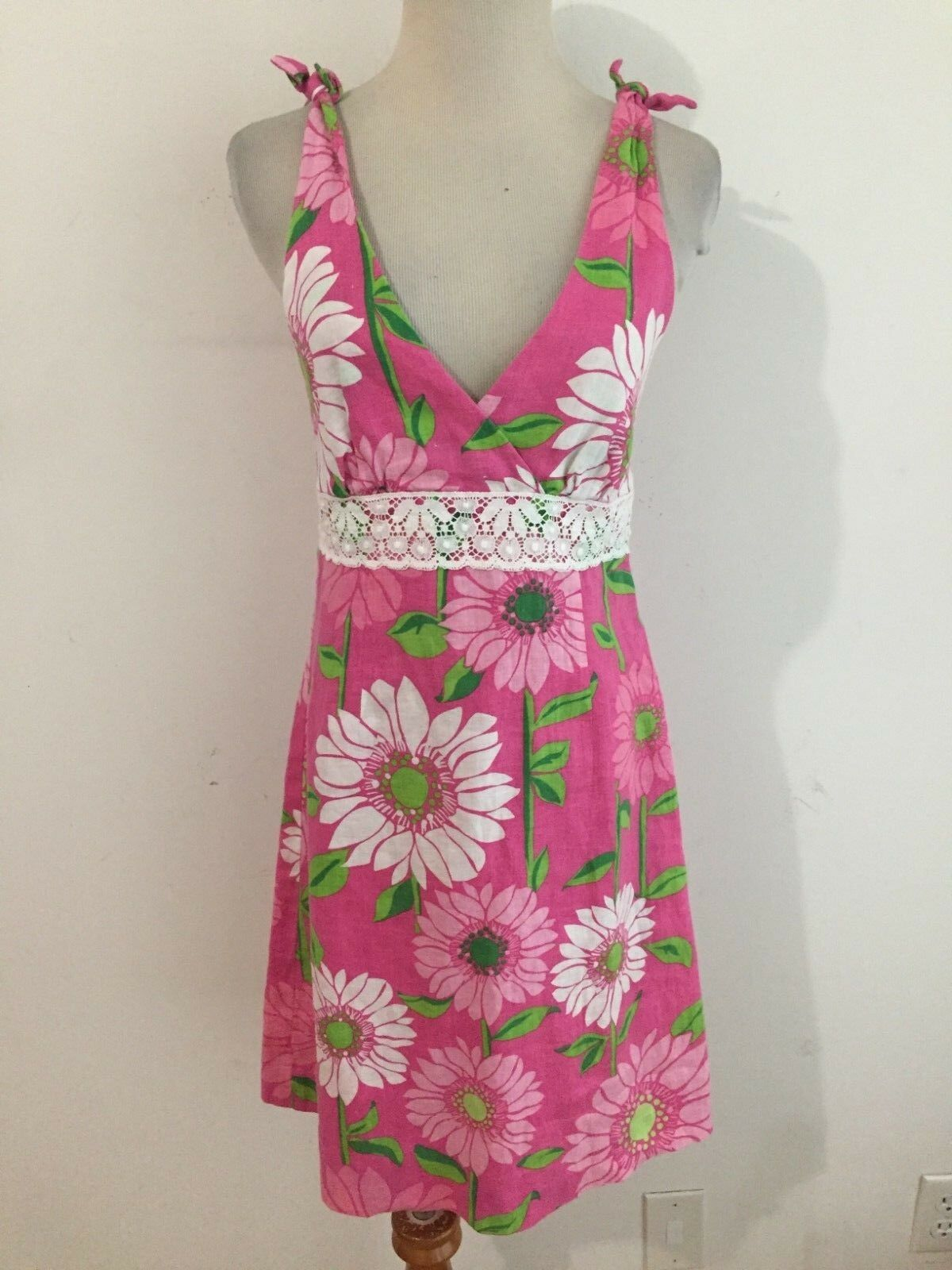 Lilly Pulitzer Linen Sleeveless Sheath Dress Sundress Fuchsia Ivory