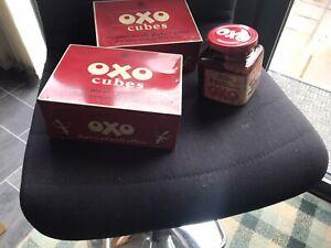 Vintage Oxo Tins And Glass jar