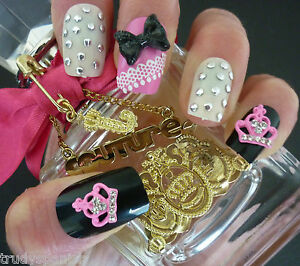 3D-Nail-Art-Glitter-Bows-Metal-Pink-Juicy-Crown-Kawaii-Decoration-10-PIECES