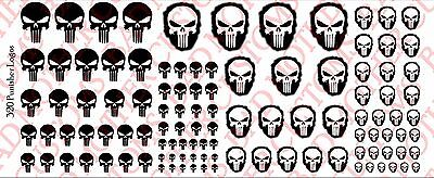Small Scale Punisher Logos Opaque White Action Figure Waterslide Decals