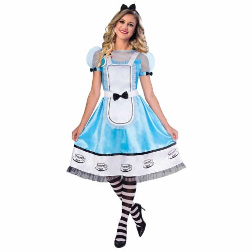 Alice Patterned Costume Outfit for Women Wonderland Fancy Dress Book Week Play
