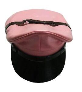 2af73cf74a799c Genuine Leather Pink Army Muir Biker Peaked Police Gay Military Cap ...