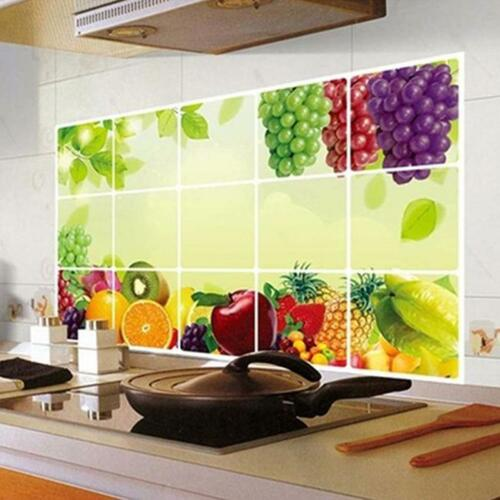 Fruit Pattern Kitchen Wall Paper Foil Wall Sticker Hot Oil Proof Decal Decor QK
