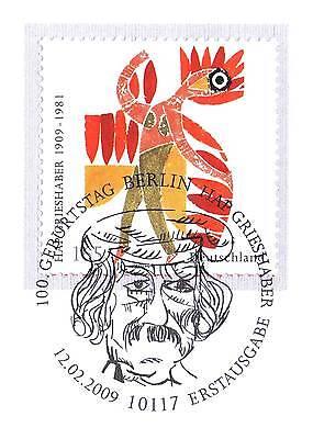 Fein Brd 2009: Hap Grieshaber Nr. 2722 Mit Dem Berliner Ersttags-sonderstempel! 1a!