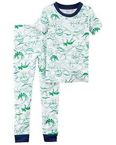 5eac516e2803 Details about Toddler Boy s Prehistoric Dinosaur Green Dino Sketch Print Cotton  Pajama Set