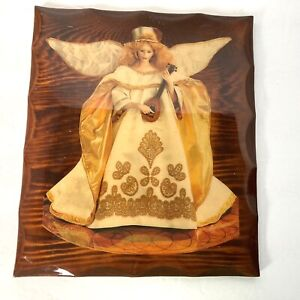 Vintage Wood Angel Plaque Lacquered Glossy Wooden Wall Art